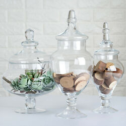 3 Pcs 10 12 14 Clear Glass Apothecary Jars Containers With Lids Wholesale