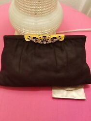 SAKS FIFTH AVE Gold and rhinestones Evening Clutch Bag  Vtg original Italy