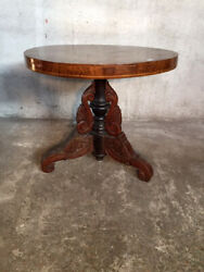 Antique And Elegant Charles X Round Table A Vaia - Restored In Progress