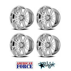 (4) 22x10 American Force Polished SS8 Rebel Wheels For Chevy GMC Ford Dodge