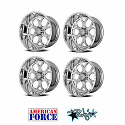 (4) 22x10 American Force Polished SS8 Shield Wheels For Chevy GMC Ford Dodge