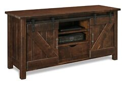 Amish Rustic Barn Track Door Tv Stand Cabinet Solid Reclaimed Wood 60 Houston