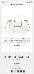 BRAND NEW WHITE Pebbled Leather Longchamp Crossbody Bag Purse Made in France