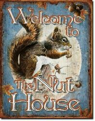 12x16 Welcome To The Nut House Metal Sign Wall Man Cave Distressed Fast Shipping