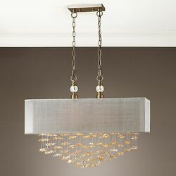 Xxl 30 Champagne Crystals Brushed Brass Metal Pendant Hanging Shade Chandelier