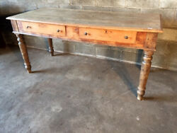 Antique And Elegant Rustic Table In Cherry - Restored In Progress