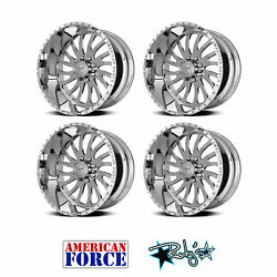 (4) 24x12 American Force Polished SS8 Octane Wheels For Chevy GMC Ford Dodge