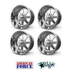 (4) 24x12 American Force Polished SS8 Independence Wheels Chevy GMC Ford Dodge
