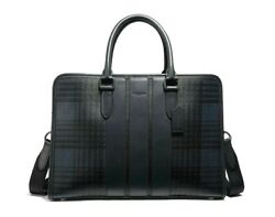 NEW COACH Men Plaid Check briefcase Business Crossbody Navy Leather Laptop Bag