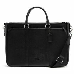 Authentic COACH Mens Leather LARGE Briefcase Business Laptop Crossbody Bag Black