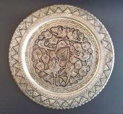 Vintage Tinned Copper Tray Isfahan Persian Middle Eastern Moroccan Plate Signed