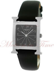 Hermes Heure H Black Dial - Stainless Steel On Strap Ref Hh1.501