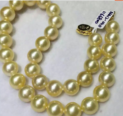 gorgeous  round 10-12mm south sea gold pearl necklace 18inch 925s