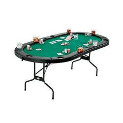 Folding Legs Holdem Poker Table 83x41 Green Felt Top Cup Holdes 10 Players