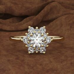 Engagement 18k Gold White Topaz Cz Snowflakes Flower Antique Ring Propose Gifts