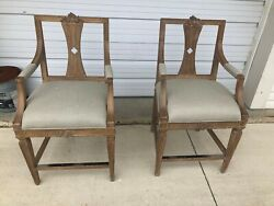 2 Frontgate Cheshire Carved Counter Bar Height Barstool Chair Stool Antique Oak
