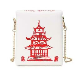 Box Design Chinese Tower Print Leather Ladies Bucket Bag Chain Shoulder Bag C