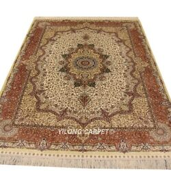 Yilong 5'x7' Floral Hand Knotted Silk Carpet Allergy Friendly Oriental Rug L25a