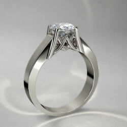 1 Ct White Round Cut Cz Solitaire Promise Gifts Engagement Ring In 925 Silver