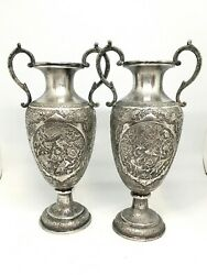 Pair of Early 20th Century Repousse Persian Silver Handled Vases