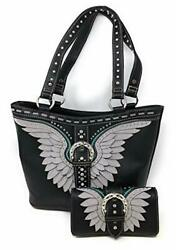 Set of Women#x27;s Concealed Carry Hobo Double Flat Strap Purse with Angel Wings $100.99