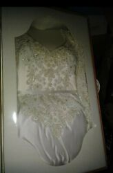 Bridal White Beaded Long Sleeve Ball Gown Style Wedding Formal Glam