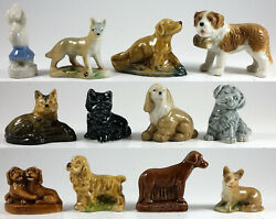 Wade Dogs Group Of 12, Whimsie, Red Rose Tea, Party Crackers 1971-79