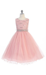 Flower Girls Kids Princess Dress for Girls Party Wedding Bridesmaid Gown 3670