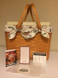 Longaberger 1999 Magazine Basket With Personal Solutions Organizer And Liner