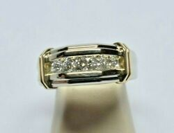14 Karat Solid White Gold 0.36 Tcw Channel Set All Natural Diamond Ring G Vs1