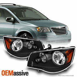Black Fits 08-16 Town And Country / 11-19 Grand Caravan Headlights Left+right