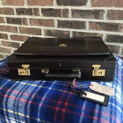 Rare Vintage 1980and039s Mark Cross Belting Leather Macbook Pro Briefcase Bag R2698