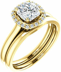 1.12 ct total Cushion & Round cut Diamond Halo Engagement 14k Yellow Gold Ring