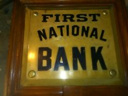 First National Bank Plaque Brass Sign Old Architectural Salvage Antique Original