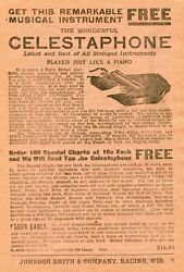 1922 Small Print Ad Of The Wonderful Celestaphone Played Just Like A Piano