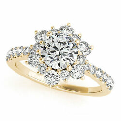 1.74 ct total Round Diamond Engagement Wedding 14k Yellow Gold Cluster Ring SI1