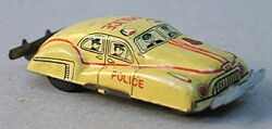 Vintage 1950's Yellow Tin Friction Small Toy Police Car - Made In Japan