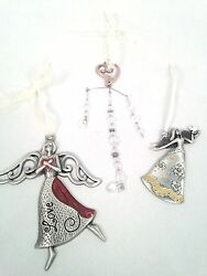2 Silver Tone Angel Ornaments And A Heart Love Crystal Ornament Hanging Decro