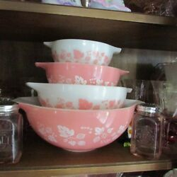 COMPLETE SET OF ALL THREE PINK GOOSEBERRY DISHES