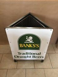 Vintage Porcelain Banksandrsquos Trash Can Traditional Draught Beers Sign Rare