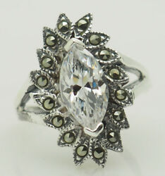 Sterling Silver 925 Marquise Cubic Zirconia And Marcasite Accents Cocktail Ring