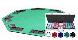 Free Shuffler W/ Dice Texas Holdem Poker Chip Set 500ct And Folding Table Top