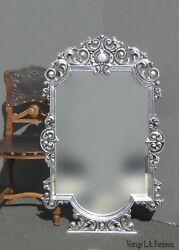 Vintage French Style Pewter Ornate Wall Mantle Silver Mirror Made In Mexico