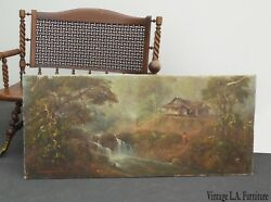 Vintage Asian Oriental Oil On Canvas Painting Picture Signed River Forest