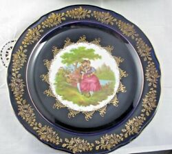 Limoges Castel France Cobalt And Gold 10.75 Plate Stafford Lovers Mint Condition