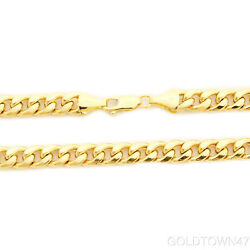 Menand039s Necklace In 14k Semi-solid Yellow Gold 8 Mm Thick Heavy Miami Cuban Chain