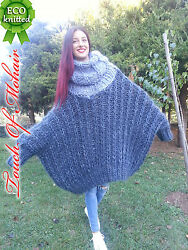 Nb Hand Knitted Mohair Sweater Unisex Thick Fuzzy Jumper 6 Strang Gray M-xxl