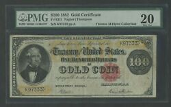 Fr1211 100 1882 Gold Note Napier / Thompson Pmg 20 Vf+ Only 57 Known Wlm7843
