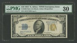 Fr2308 10 1934 No. Africa Note Pmg 30 Choice Vf Very Rare 32 Recorded Wlm7849