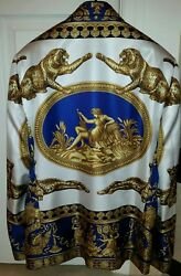 RARE GIANNI VERSACE SpA BLAZER JACKET SILK SHIRT-PRINT PANTHER GREEK BAROQUE NEW